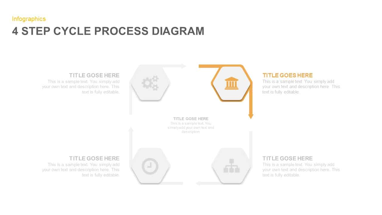 4 Step Cycle Process Diagram PowerPoint Template