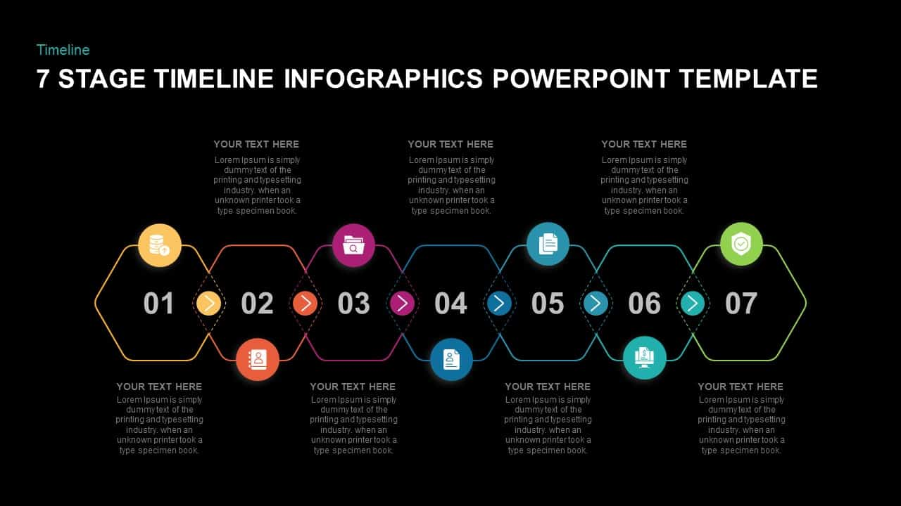 7 stage timeline infographic powerpoint template