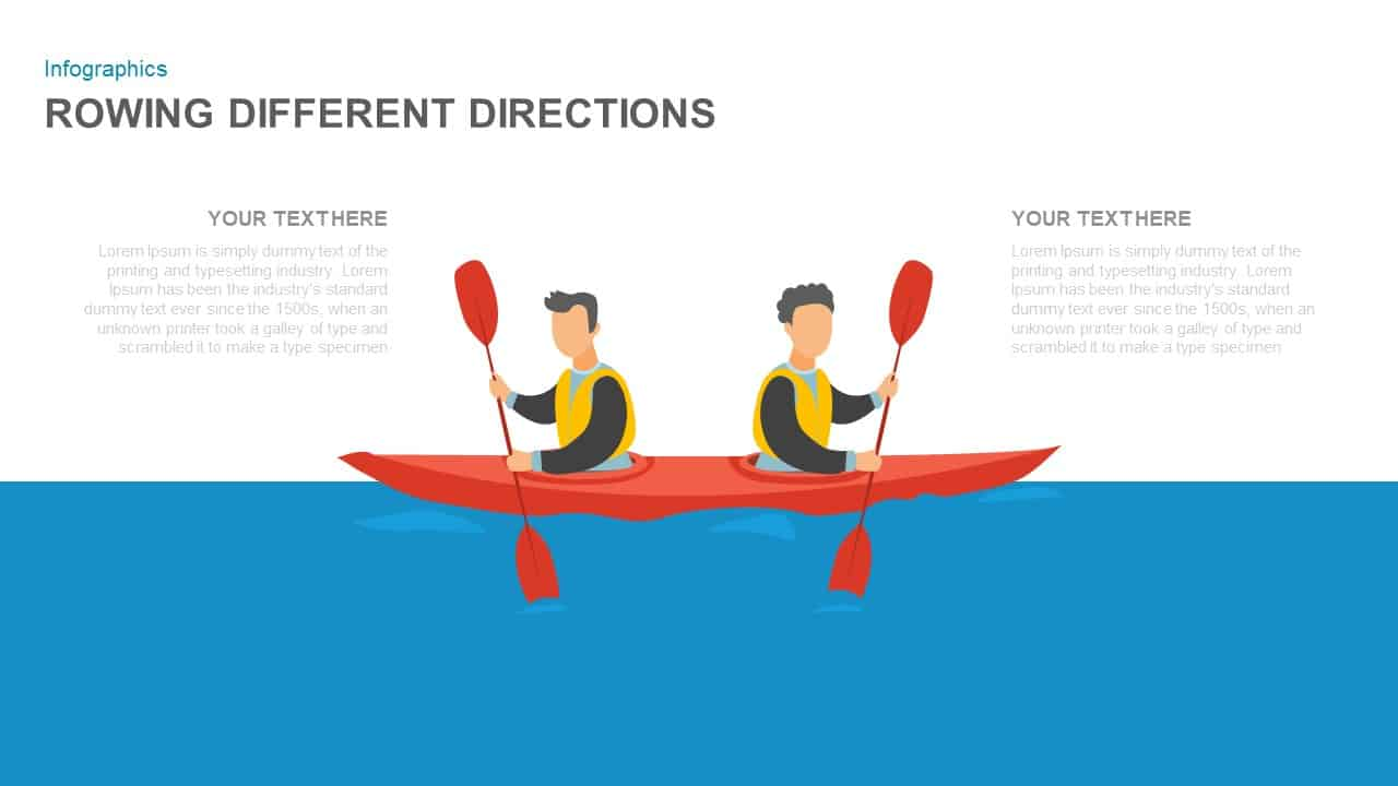 Rowing Different Directions Illustration PowerPoint Template