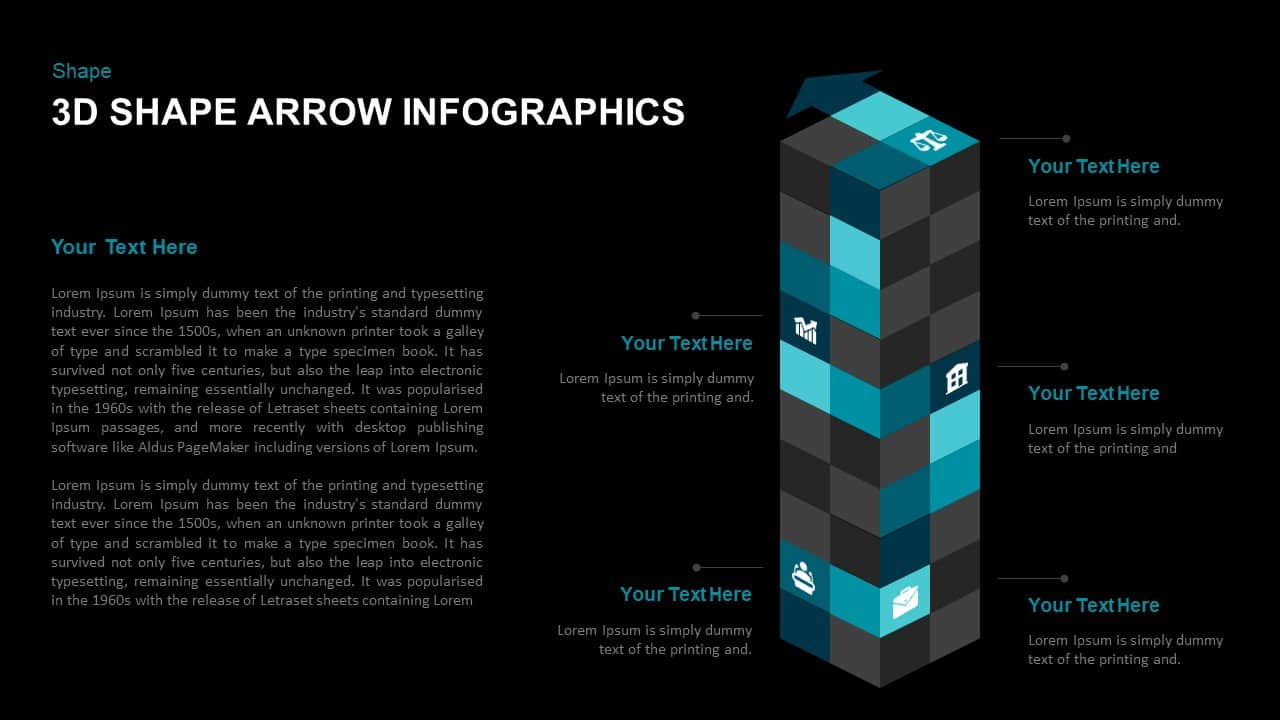 3d Cube Shape Arrow Template for PowerPoint Presentation