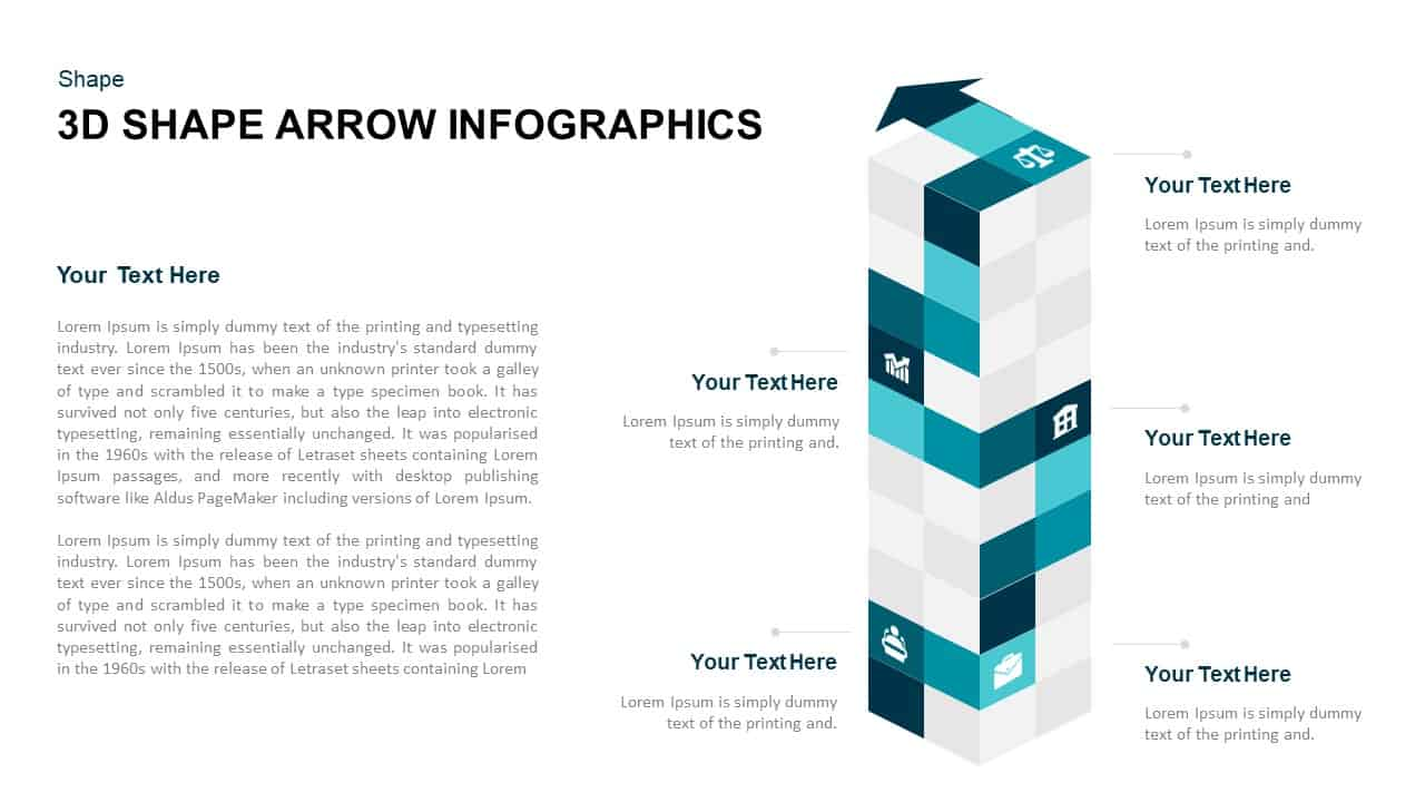 3d Cube Shape Infographic Arrow Template