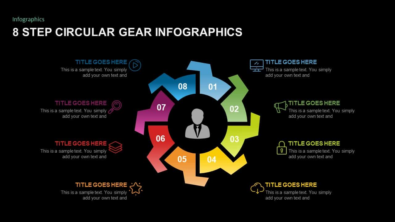 8 Step Circular Gear Diagram PowerPoint Template