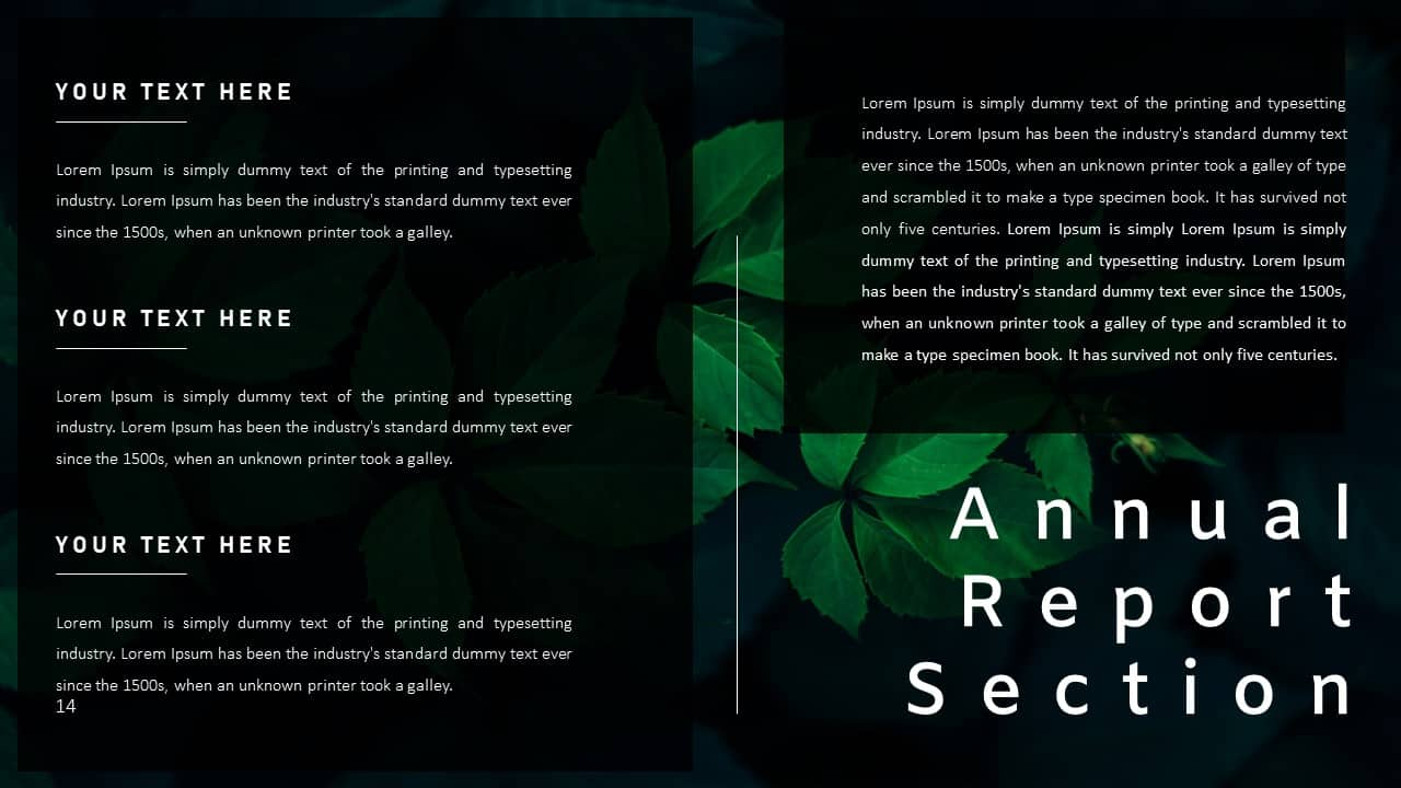 Annual Report Ppt Template Report Section