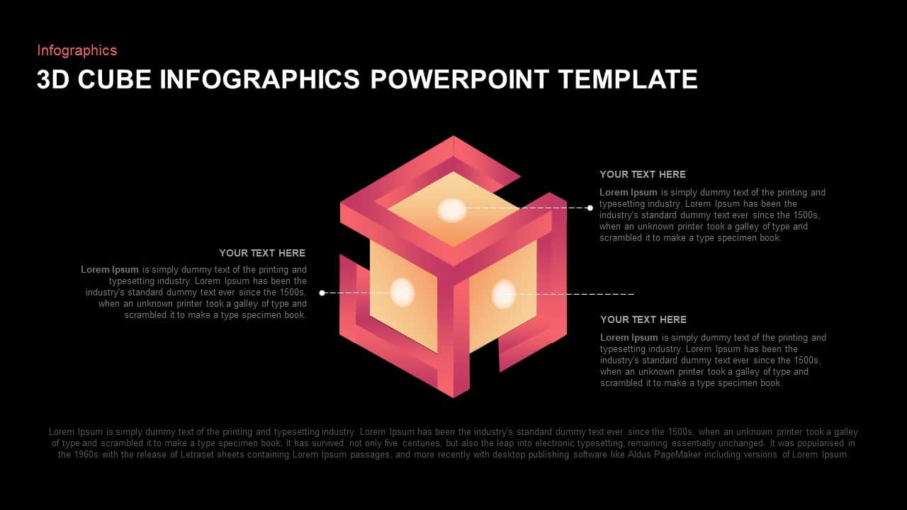 3D cube ppt template