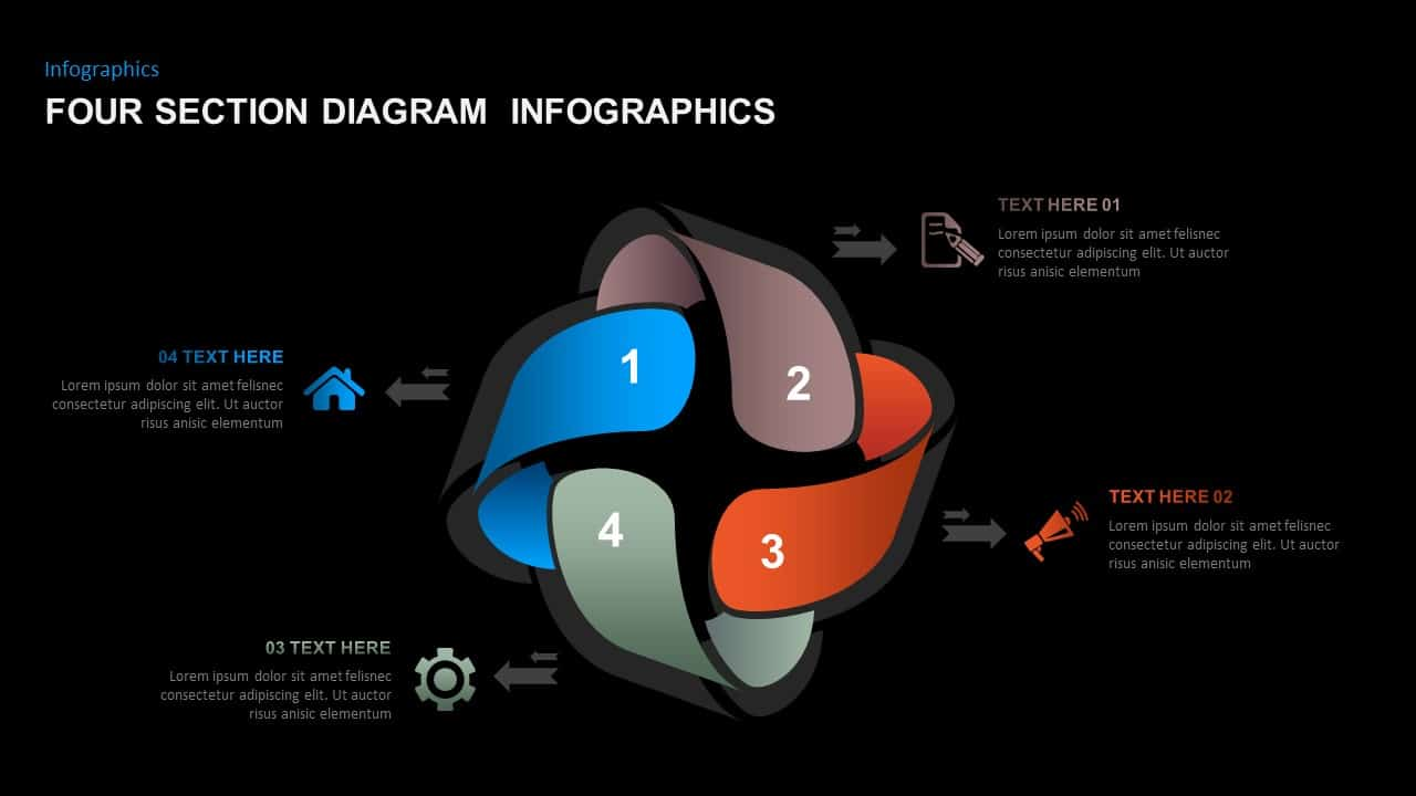 4 Sections Diagram Infographics PowerPoint Template