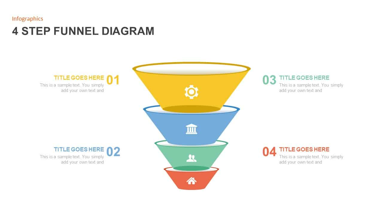 4 Step Funnel Diagram PowerPoint Template