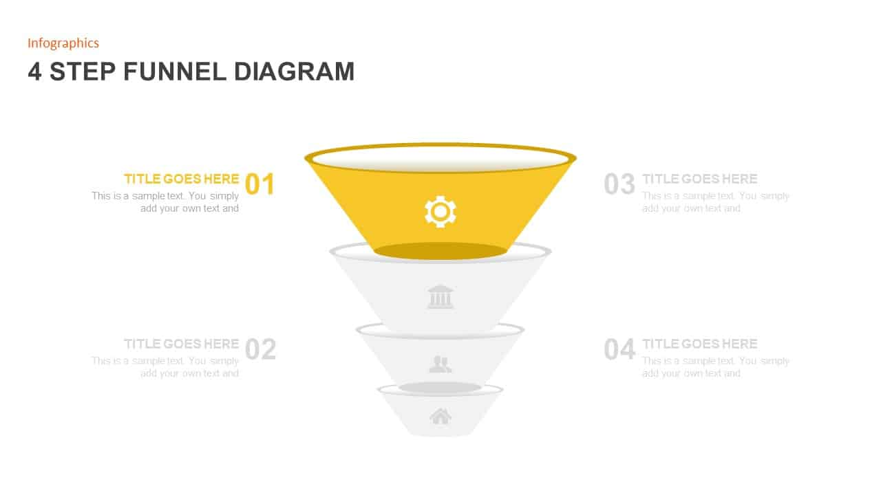 4 Step Funnel Diagram Ppt Template