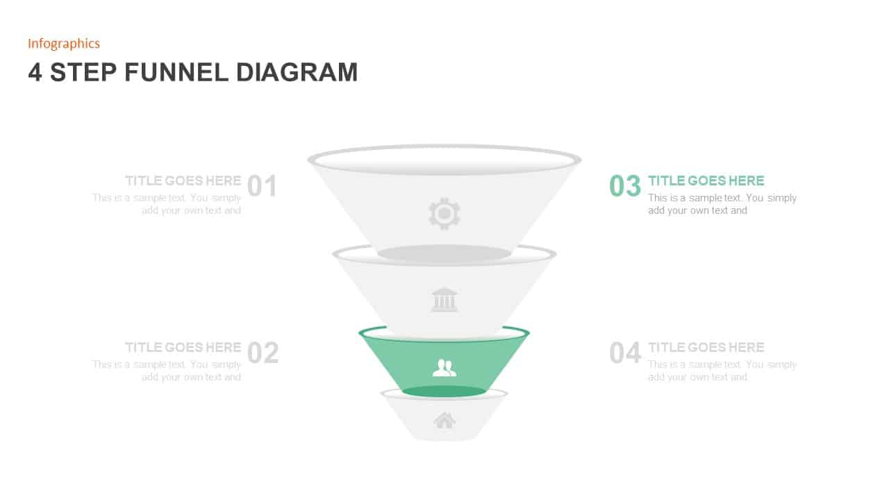 4 Step Funnel Diagram Template