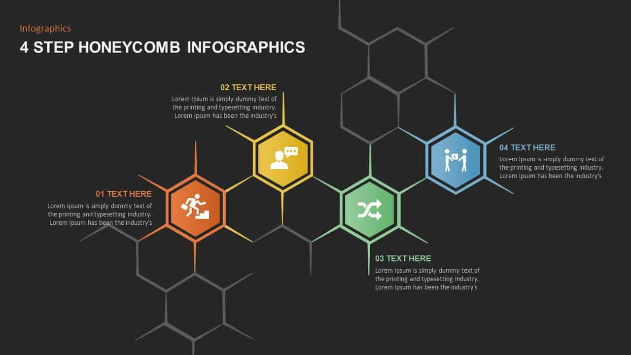 4 Step Honeycomb Ppt Template