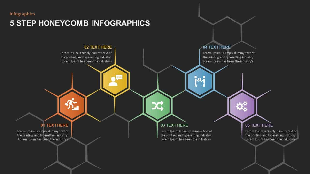 5 Step Honeycomb Ppt Template