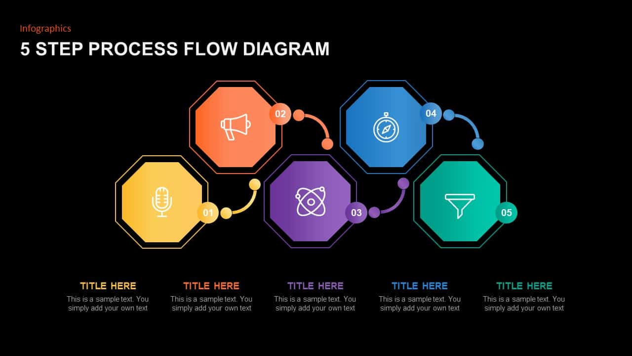 5 Step Process Flow Diagram Template for PowerPoint Presentation
