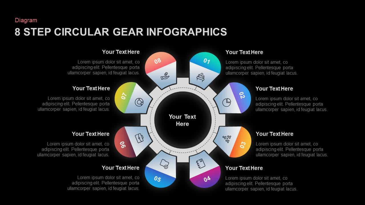 8 Step Circular Gear Ppt Template