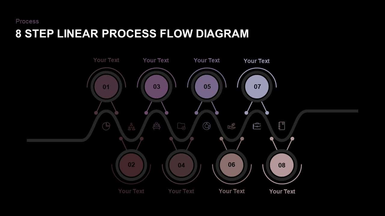 8 Step Linear Process Flow PowerPoint Template