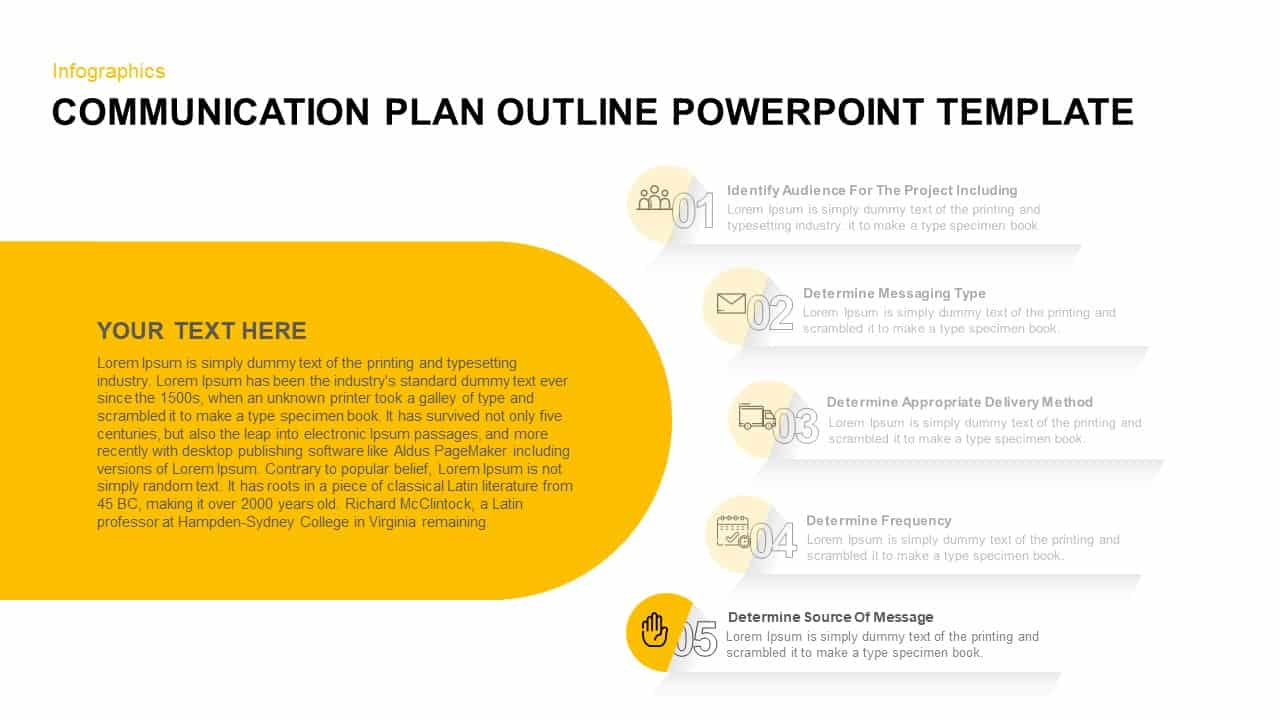Communication Plan Outline PowerPoint Diagram