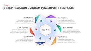 6 Step Hexagon Diagram Template for PowerPoint Presentation