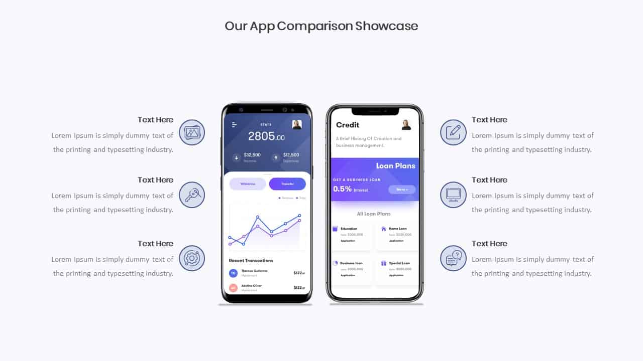 Mobile App Showcase Comparison Slide