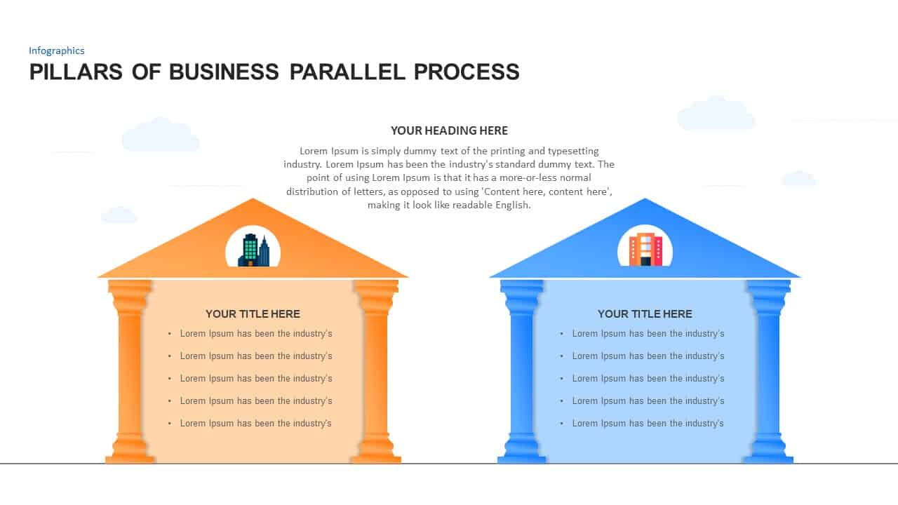 Pillars For Business Parallel Process Powerpoint Template