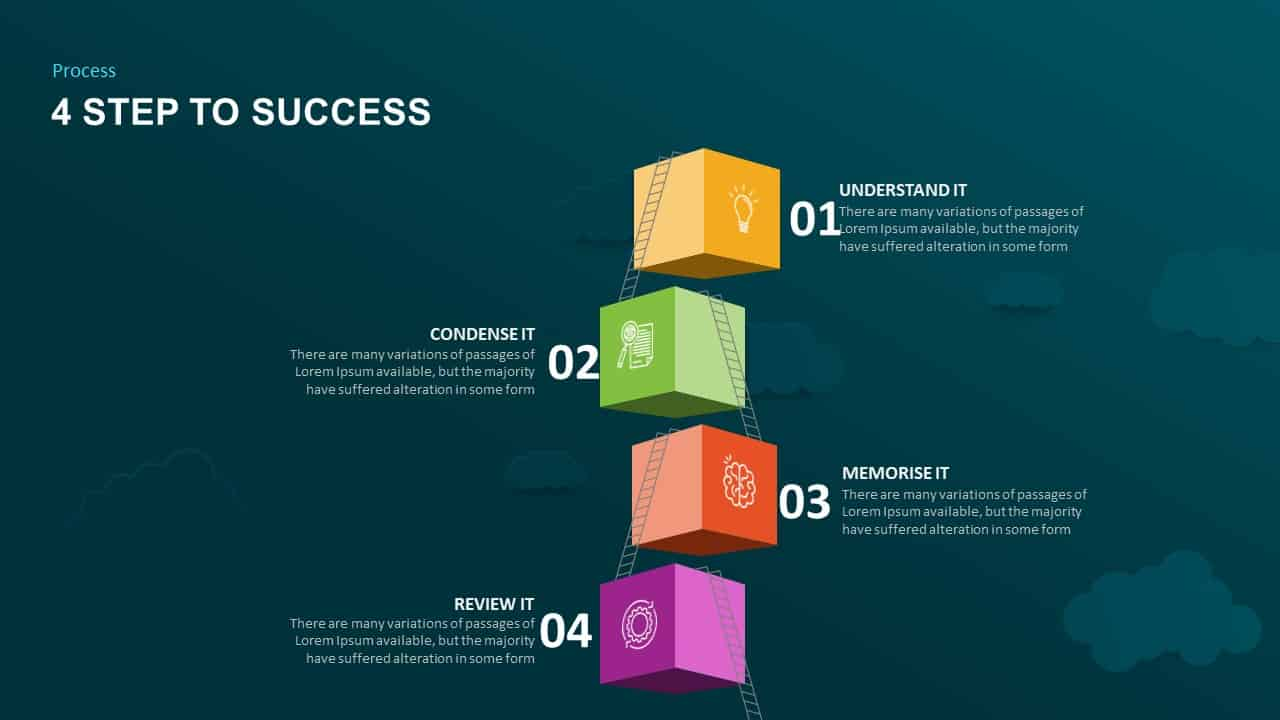 Success In 4 Steps PowerPoint Slides