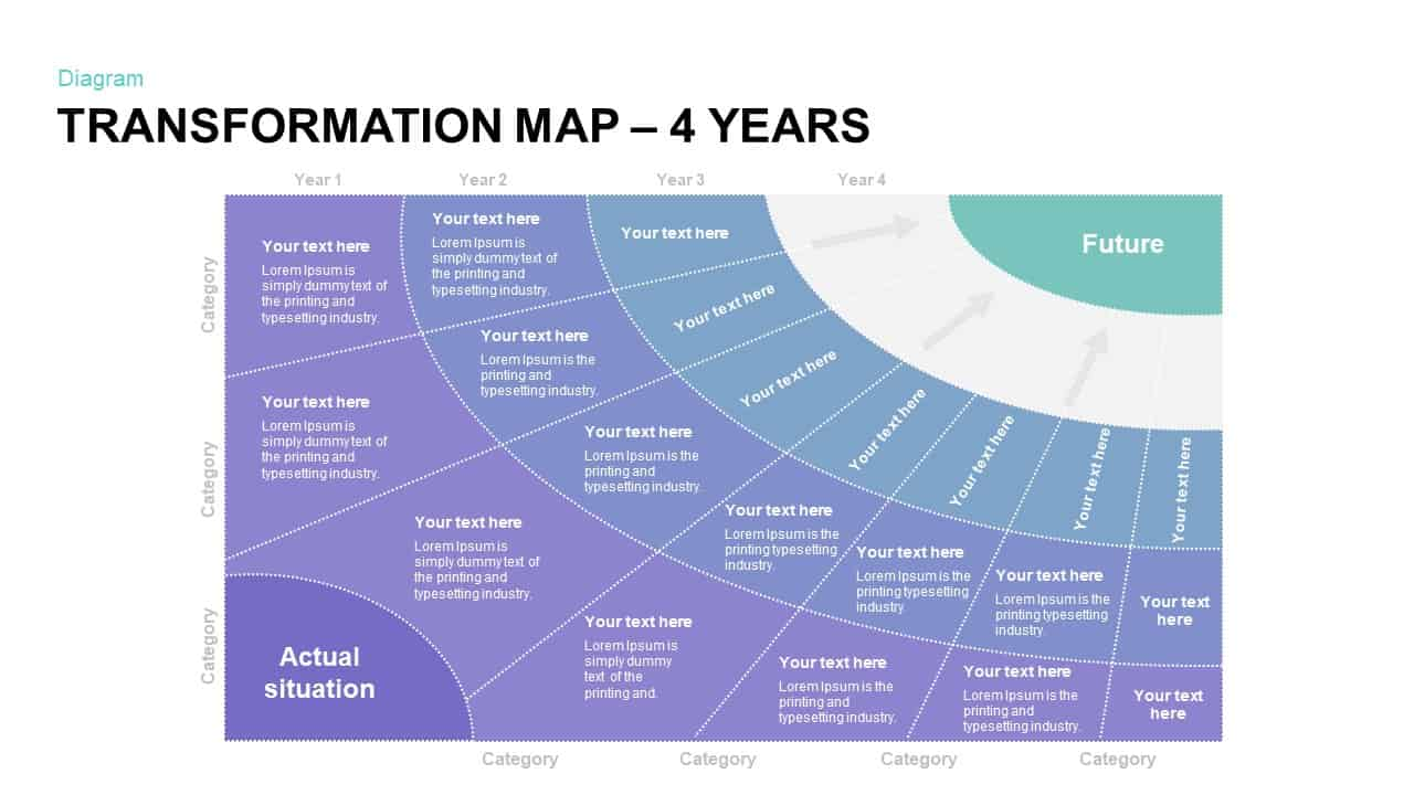 4 Year Transformation Map PowerPoint Slide
