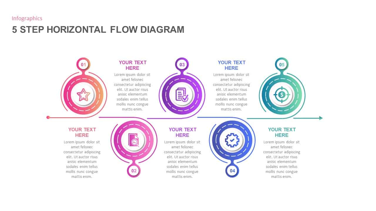 5 Step Horizontal Flow Diagram