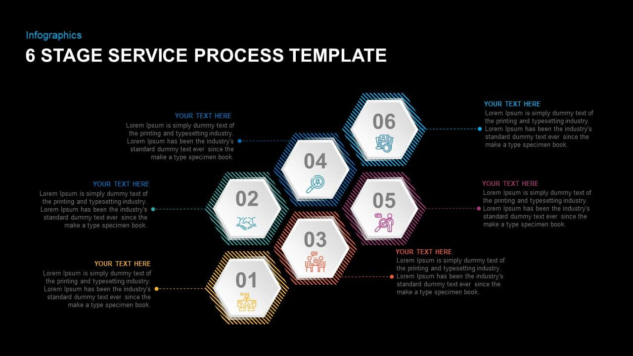 6 Steps Service Process PowerPoint Template for Presentation