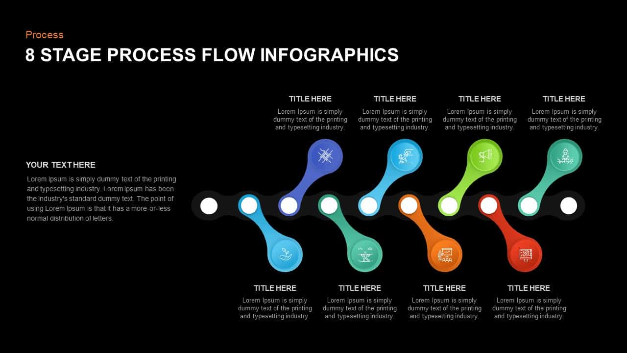 8 Step Process Flow Diagram Infographic Template for PowerPoint