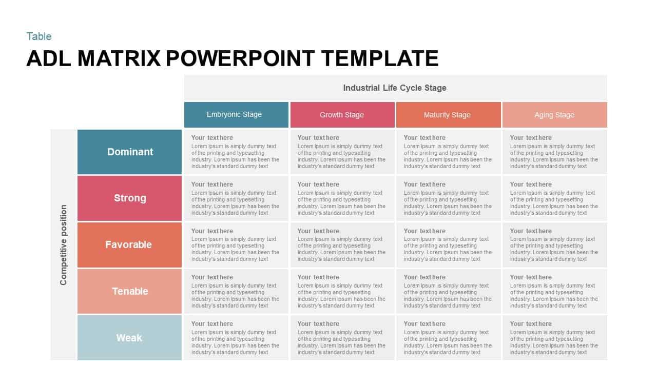 ADL matrix PowerPoint template