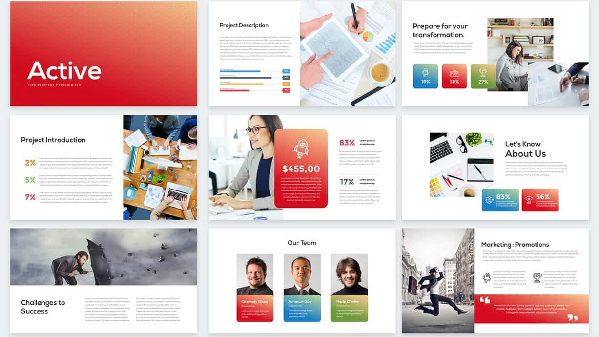 Active Free PowerPoint Templates