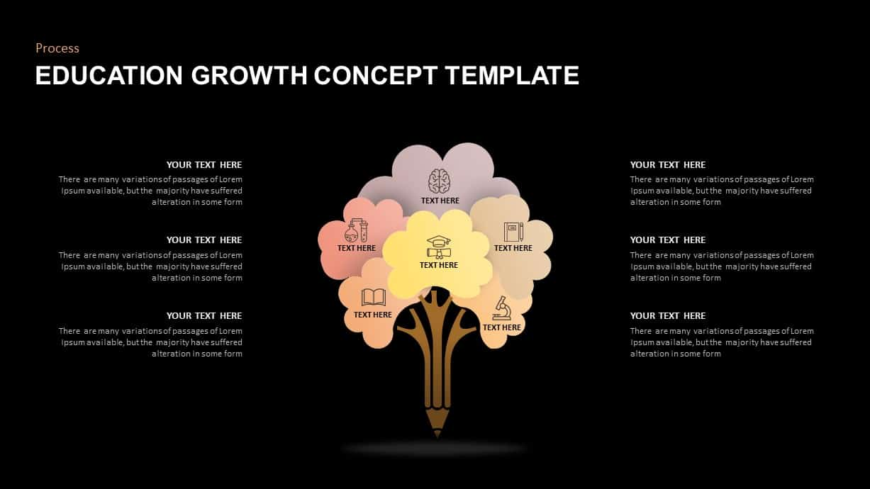 Education growth concept tree diagram PowerPoint template
