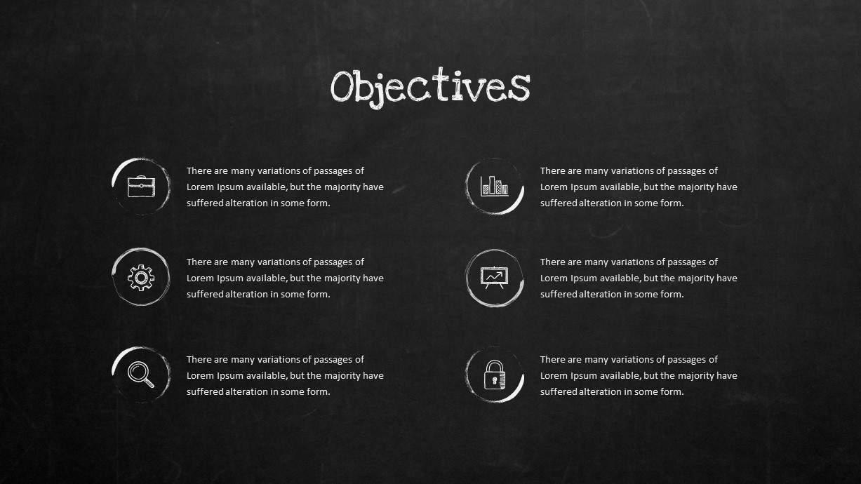 Blackboard Company Profile Objectives PowerPoint Template