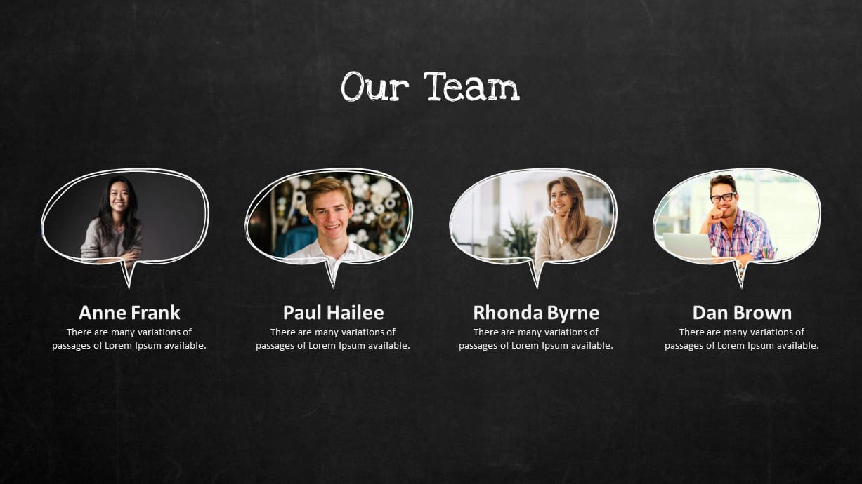 Blackboard Company Profile Our Team PowerPoint Template