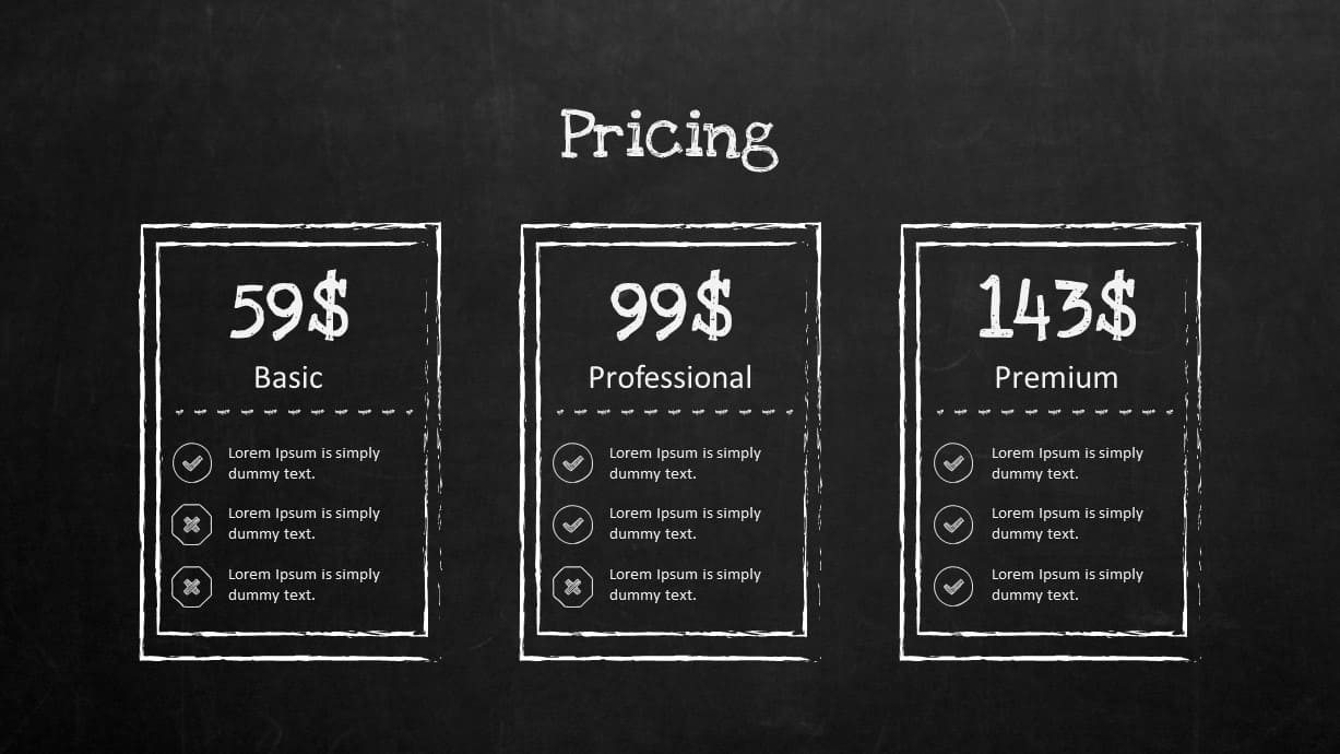 Blackboard Company Profile Pricing Table PowerPoint Template