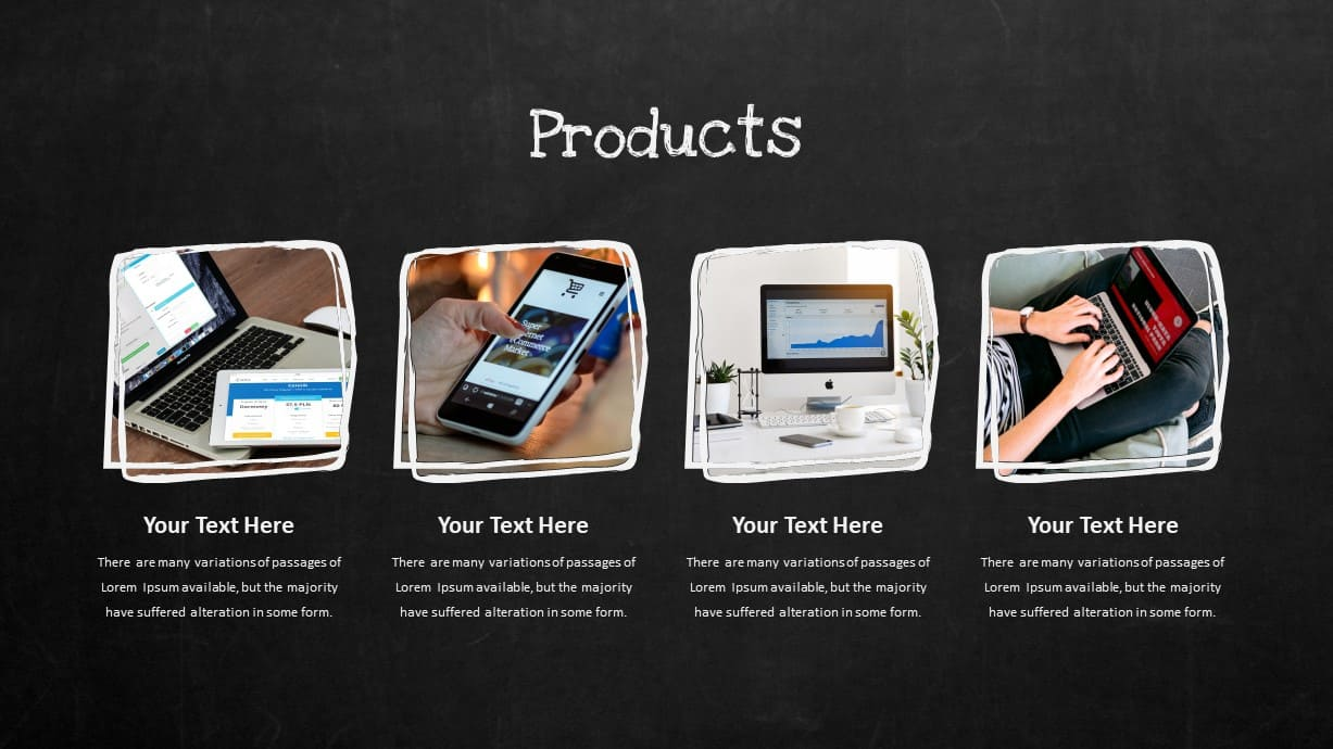 Blackboard Company Profile Products PowerPoint Template