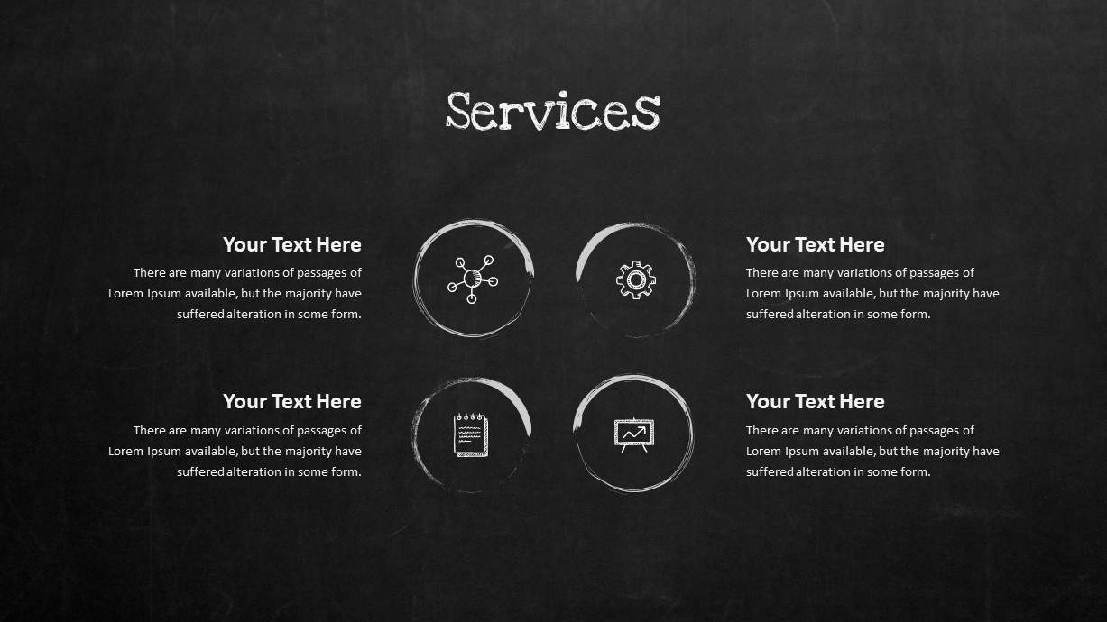 Blackboard Company Profile Services PowerPoint Template