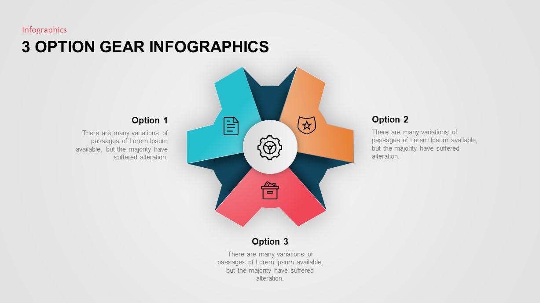 3 option gear PowerPoint template