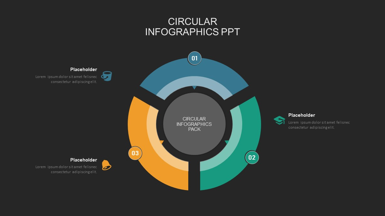 3 step circular process powerpoint template
