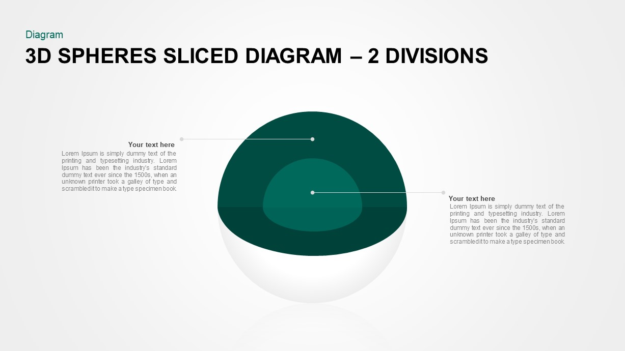 3D Sphere Sliced Diagram 2 Divisions for PowerPoint