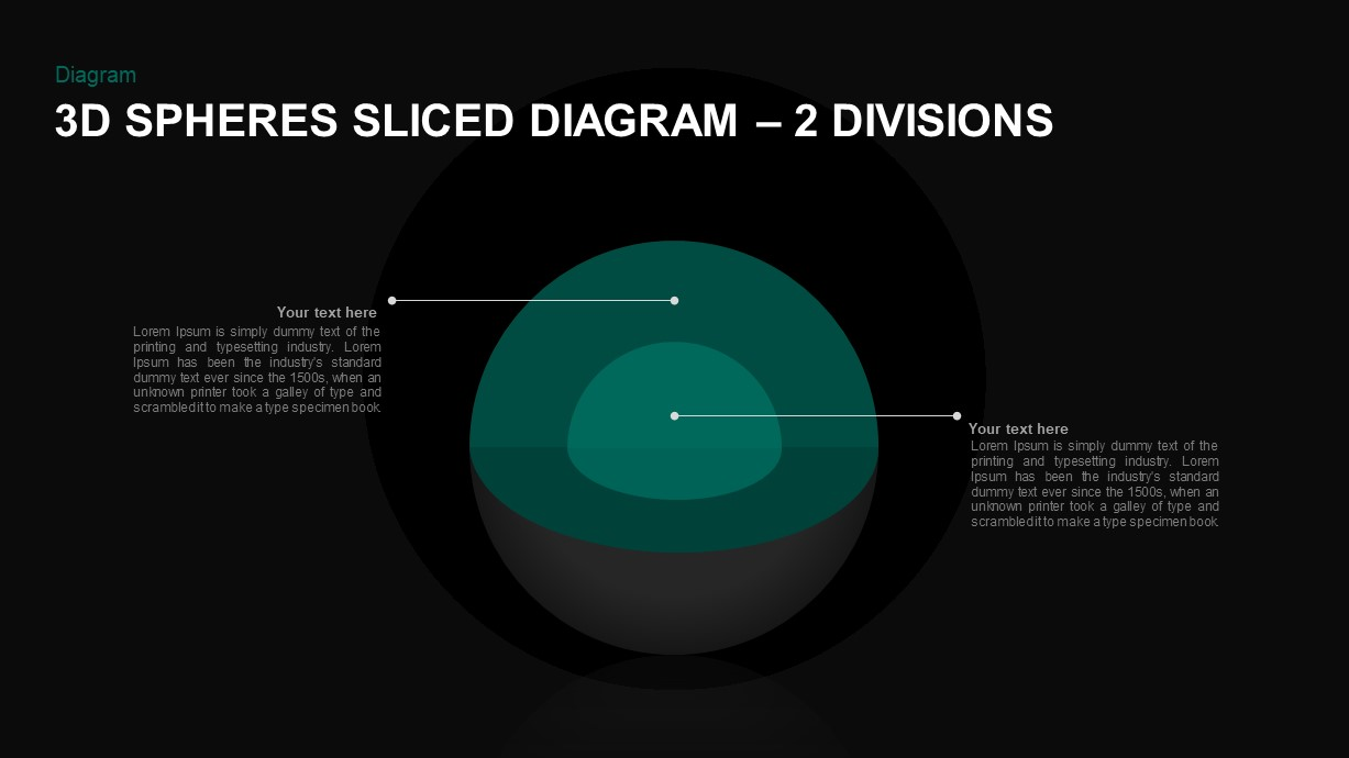 3D Sphere Sliced Diagram 2 Layers for PowerPoint