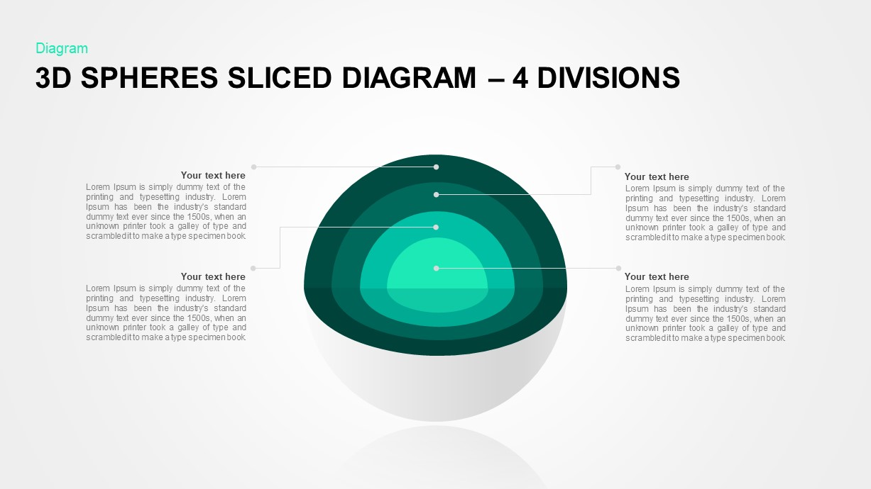 3D Sphere Sliced Diagram 4 Divisions for PowerPoint