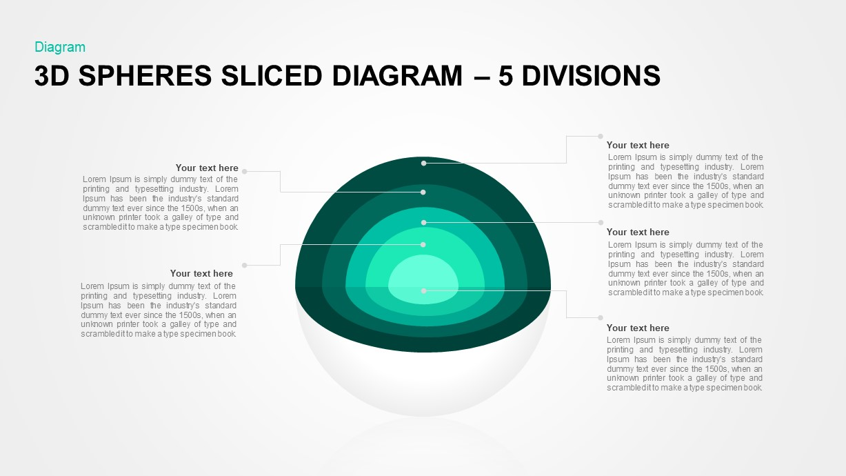 3D Sphere Sliced Diagram 5 Divisions for PowerPoint