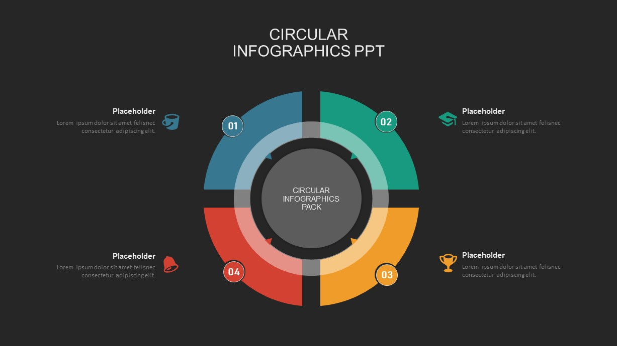 4 step circular process powerpoint template