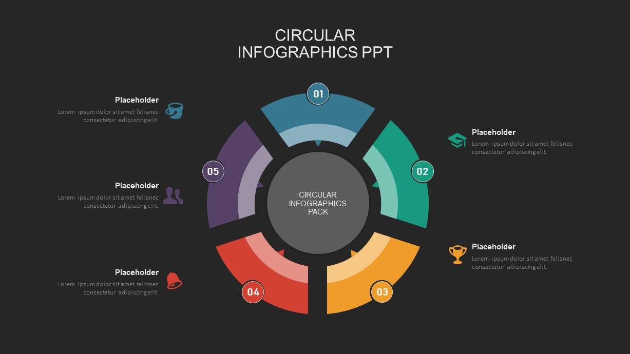 5 step circular process powerpoint template