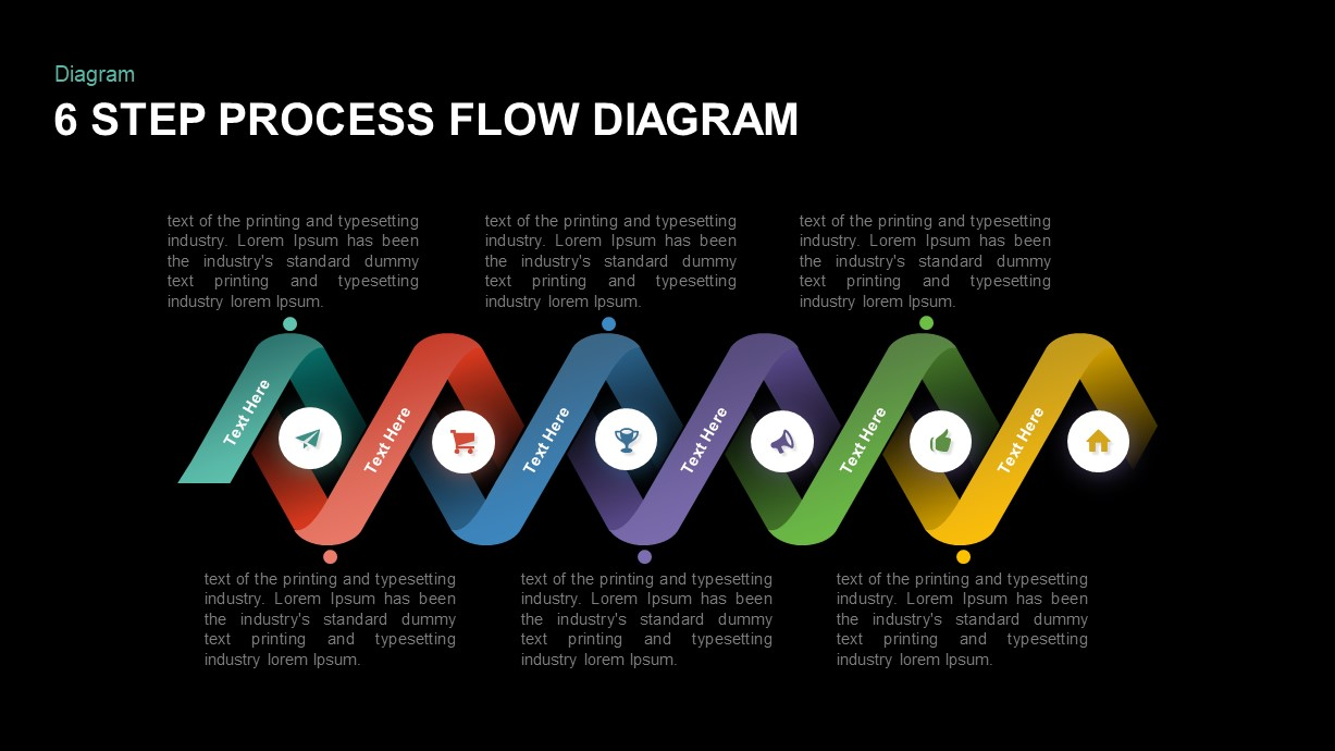 6 step Process flow diagram PowerPoint template