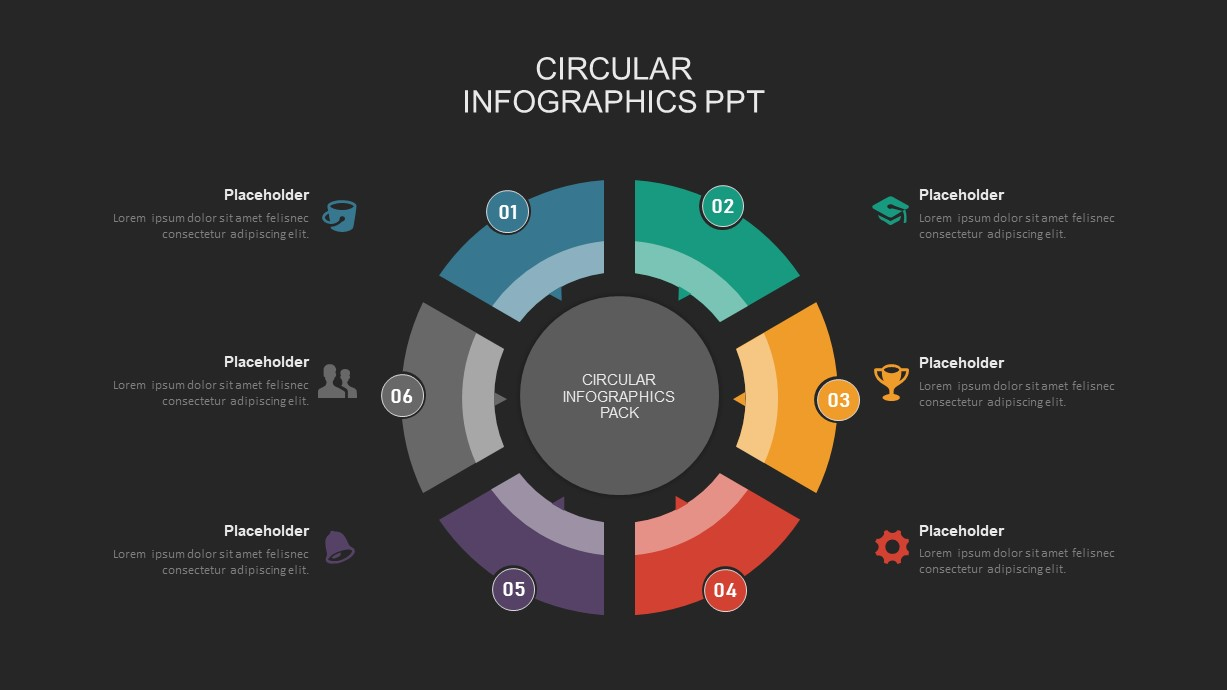 6 step circular process powerpoint template