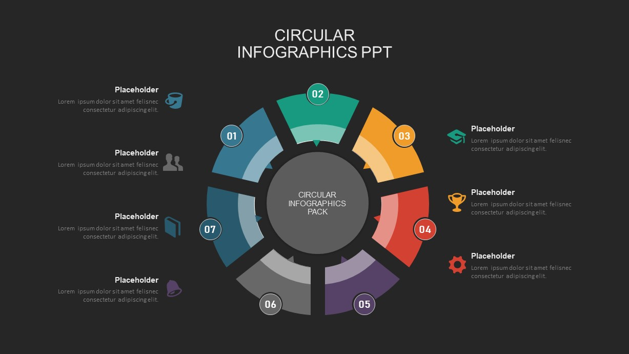 7 step circular process powerpoint template