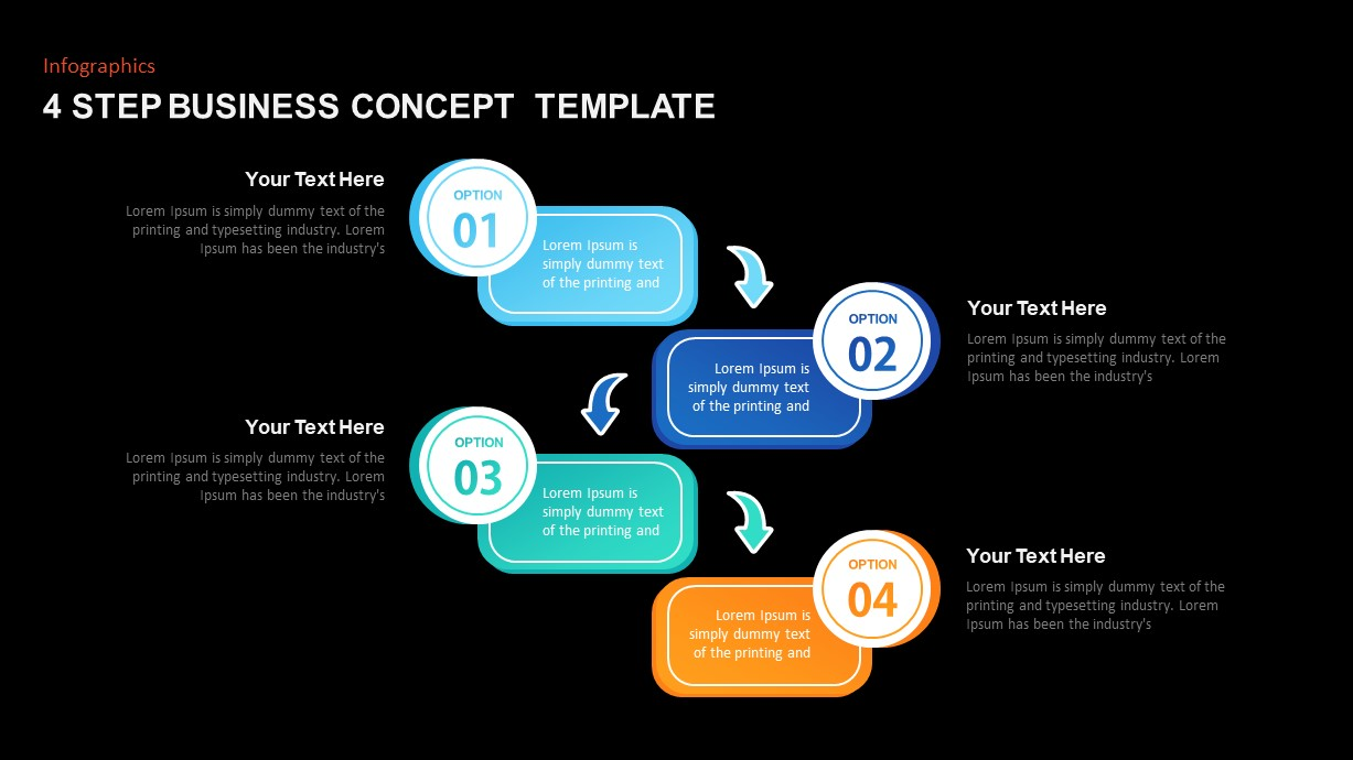 4 Step Business Concept PowerPoint Diagram