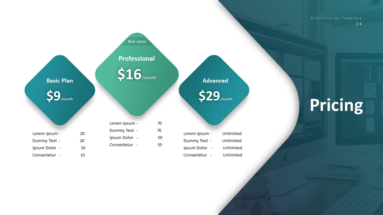 Corporate Business PowerPoint Presentation Pricing Template