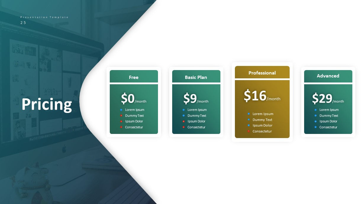 Corporate Business PowerPoint Presentation Pricing Table Template