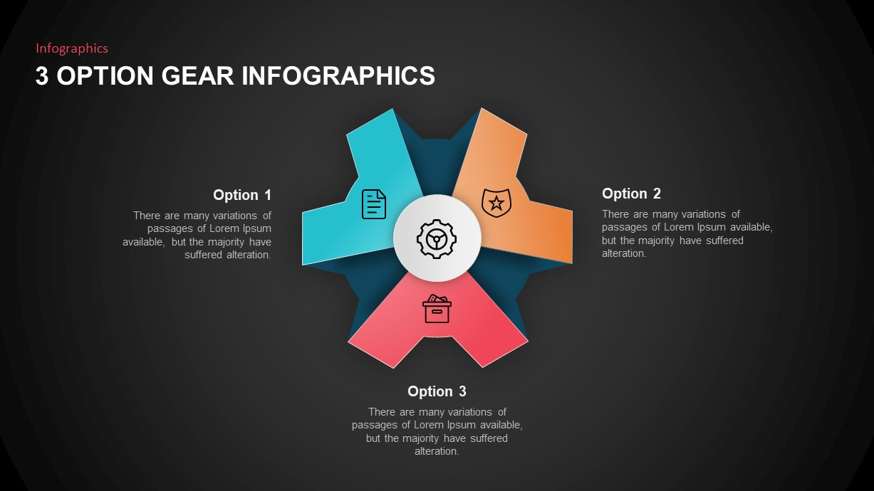 Business Infographic Template 3 Options Gear