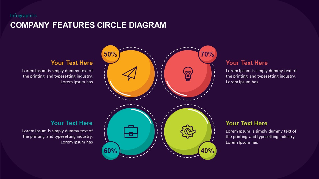 Company Features Circle Diagram